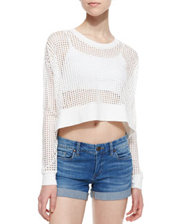 Townsen Long-Sleeve Mesh Strands Crop Top, White