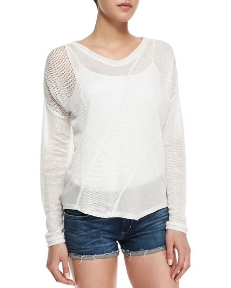 Jade Asymmetric Mixed Mesh Top, Cream