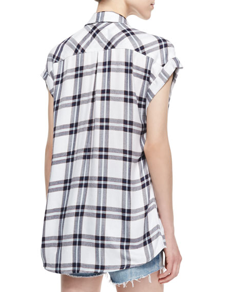 Britt Oversized Plaid Shirt, White/Marine