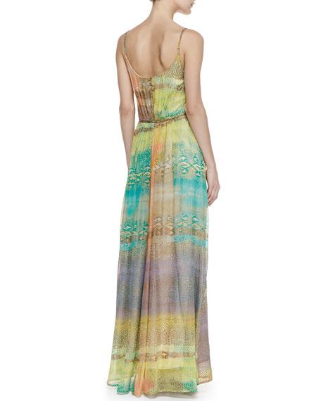 Eden Pleated Mixed Print Maxi Dress, Yellow/Green