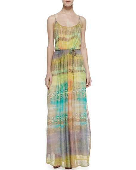 Eden Pleated Mixed Print Maxi Dress, Yellow/Green