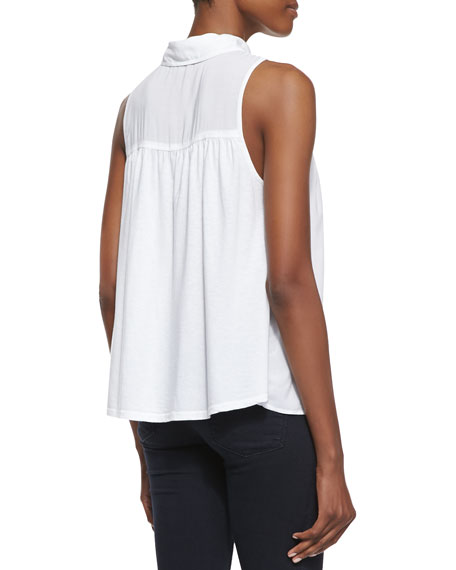 Button-Front Combo Tank Top, White