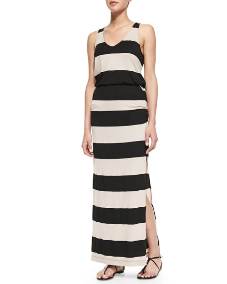 Luna Lake Striped Maxi Dress, Almond/Black