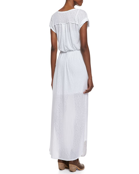 V-Neck Tie-Front Maxi Dress, White