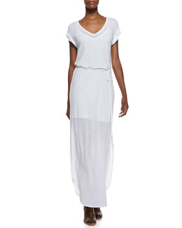 Splendid V-Neck Tie-Front Maxi Dress, White