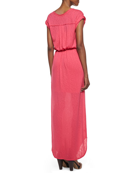 V-Neck Tie-Front Maxi Dress, Flamingo Pink