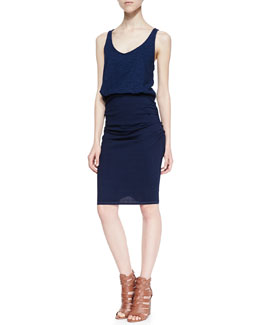 Splendid Racerback Blouson Ruched Combo Dress, Dark Wash
