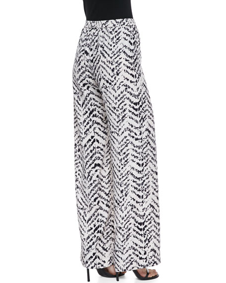 Nile Jagged Chevron Print Pants, White/Black