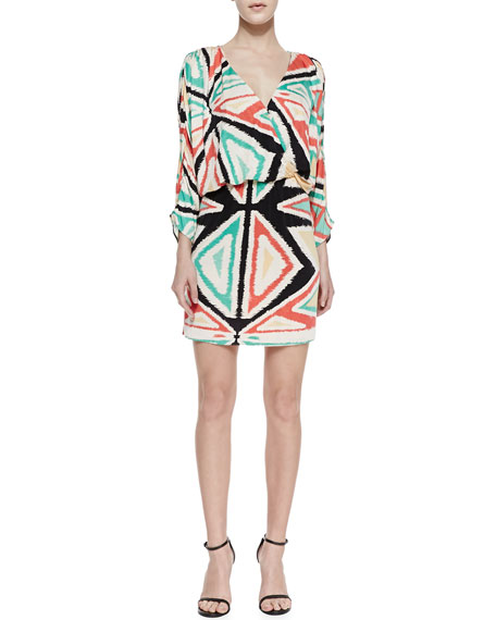 Catalina Geometric Print Draped Dress