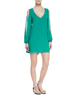 Lovers + Friends Gracie Chiffon Cold-Shoulder Shift Dress, Greenlake