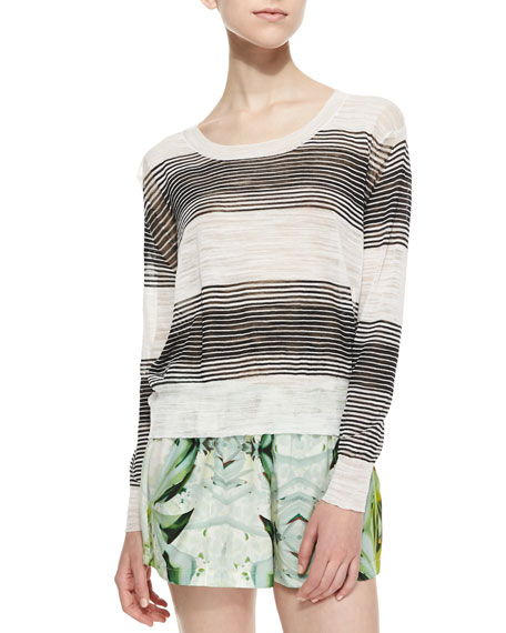 Zuma Slub-Knit Striped Cropped Sweater, White/Black