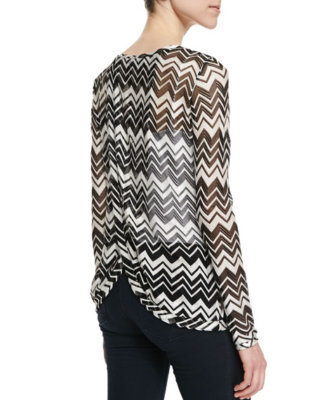 Zigzag Knit Crossover-Back Top, Black/White