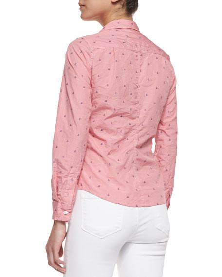 Barry Anchor-Print Check Shirt