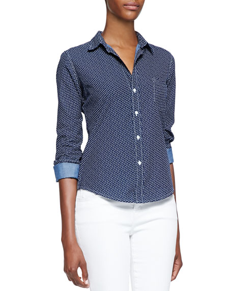 Barry Heart Print Button-Front Blouse, Stone Washed Indigo
