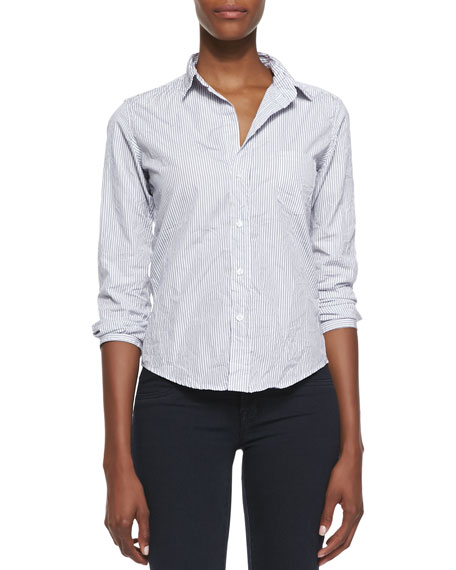 Barry Pinstripe Button-Down Shirt, White/Blue