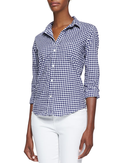 Barry Gingham Check Button-Front Blouse, Blue/White