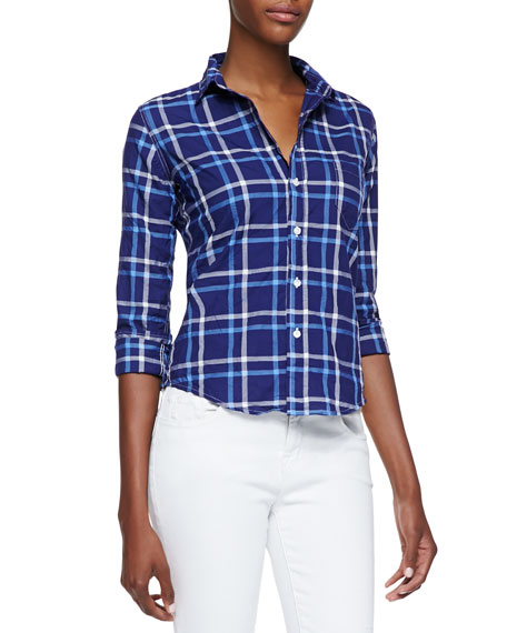 Barry Plaid Button-Front Blouse, Blue/White