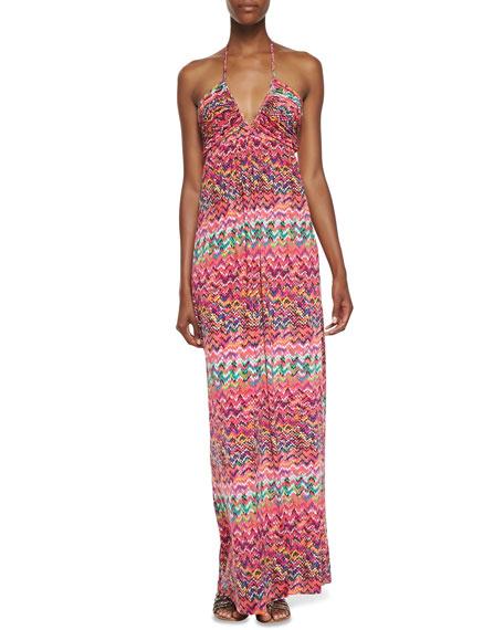 Zigzag Print Halter Maxi Dress
