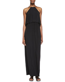 T Bags Tiered Halter Maxi Dress, Black