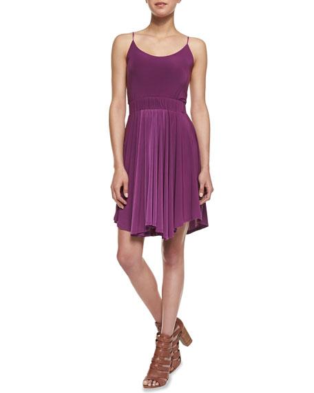 Back-Cutout Gathered Dress, Magenta