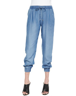 Splendid Indigo Dye Tapered Crop Pants, Medium Wash