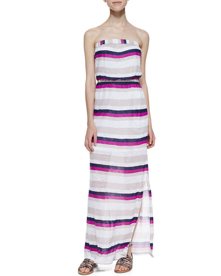Very Berry Strapless Striped Maxi Dress, Wine Pattern