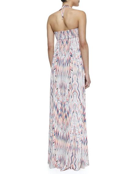 Xander Zigzag Print Maxi Dress, Ruby