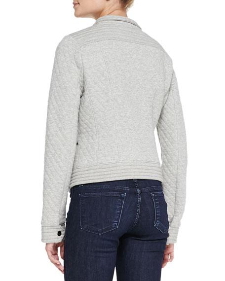 Quilted Fleece Moto Jacket, Gray