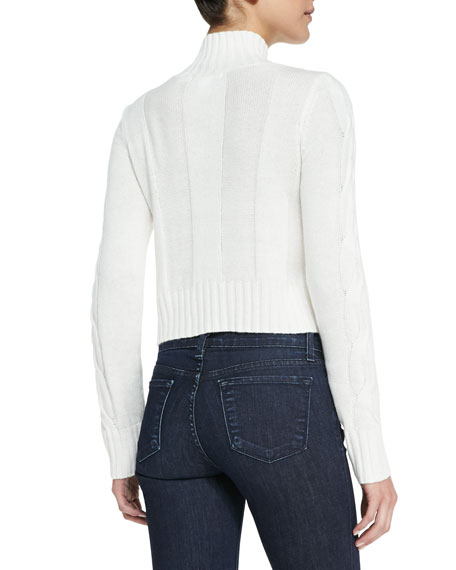 Cusp by Neiman Marcus Cable-Knit Mock Turtleneck Crop Sweater ...