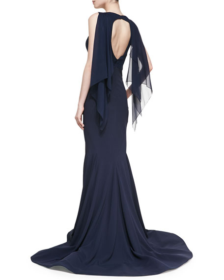 Crepe-Back Satin Gown, Midnight