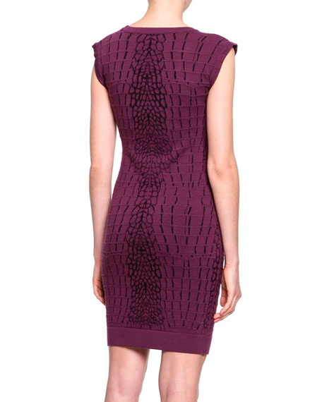 Crocodile-Textured Knit Sheath Dress, Bordeaux