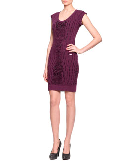 Just Cavalli Crocodile-Textured Knit Sheath Dress, Bordeaux