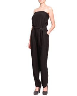 Just Cavalli Strapless Self-Belted Jumpsuit, Black
