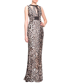 Just Cavalli Harness Cutout Animal-Print Gown