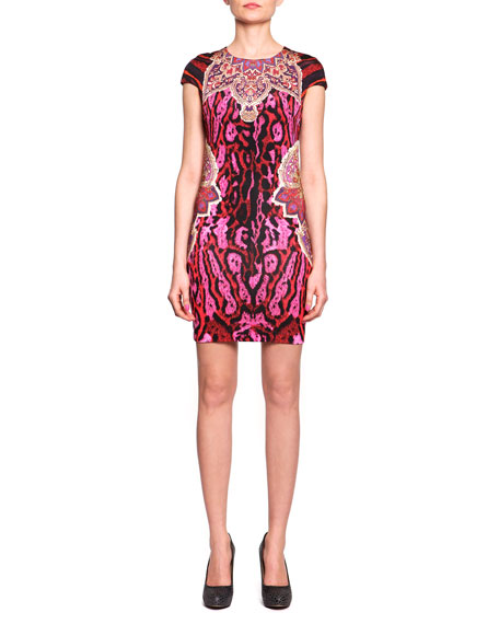 Cap-Sleeve Mixed-Print Jersey Dress, Fuchsia/Multi