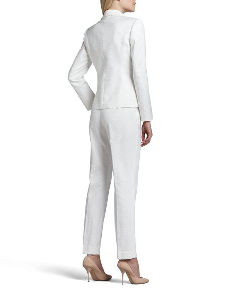 Long Sleeve Notch Collar Pantsuit, Blanc (White)
