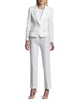 Albert Nipon Long Sleeve Notch Collar Pantsuit, Blanc (White)