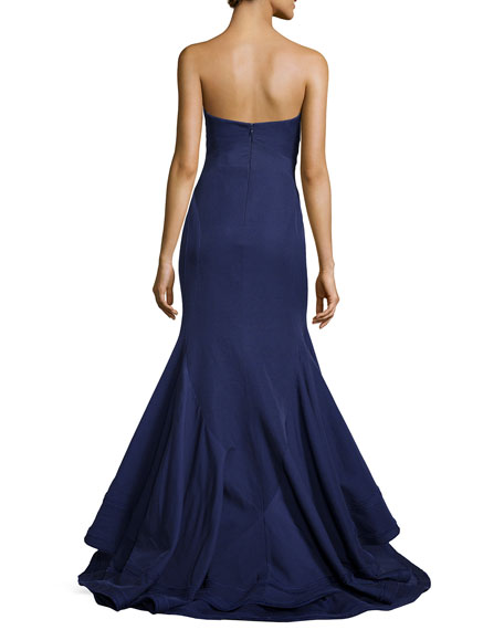 Strapless Ottoman Knit Mermaid Gown, Violet Blue