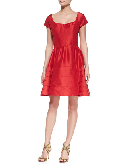 Short-Sleeve Silk Party Dress, Geradine