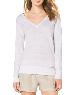 MICHAEL Michael Kors  Linen Slub V-Neck Sweater
