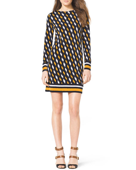 Printed Contrast-Trim Dress
