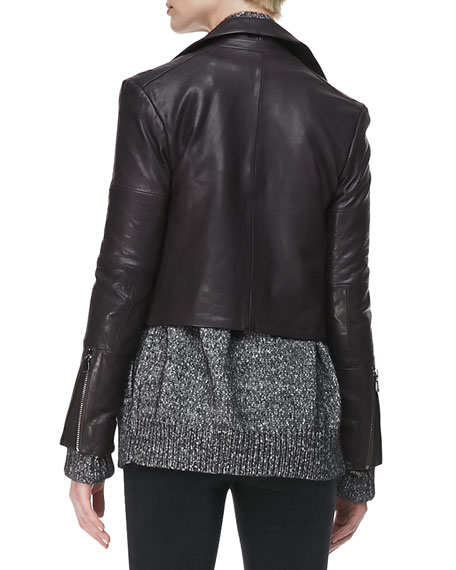 Aiah Leather Zip-Front Jacket, Kona