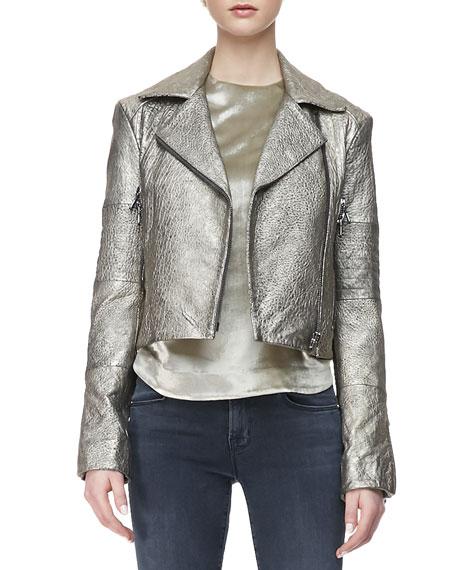 Aiah Metallic Leather Moto Jacket