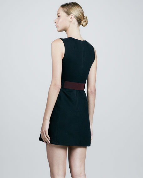 Belted Center-Pleat Dress