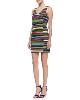 Trina Turk Ila Striped-Twill Sleeveless Dress