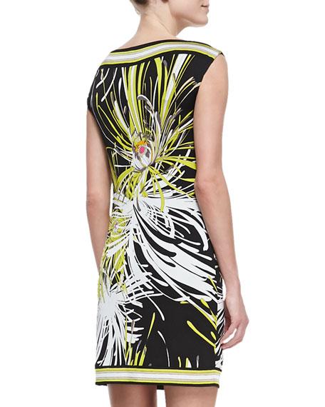 Felana Printed-Jersey Boat-Neck Dress