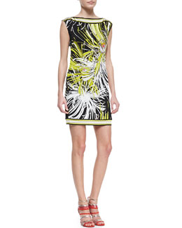 Trina Turk Felana Printed-Jersey Boat-Neck Dress