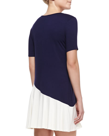 Bicolor Short-Sleeve Jersey Dress