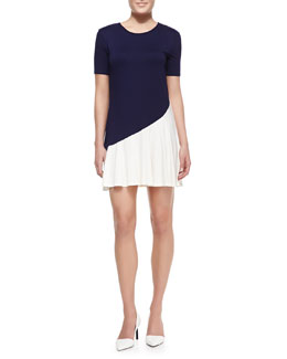 Three Dots Bicolor Short-Sleeve Jersey Dress