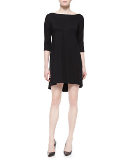 Three Dots 3/4-Sleeve Fishtail Jersey Dress